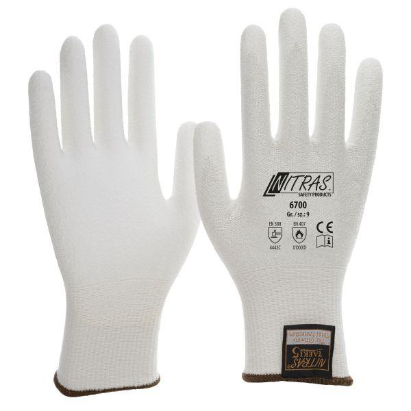 Schnittschutzhandschuhe, Nitras TAEKI,PU, weiß