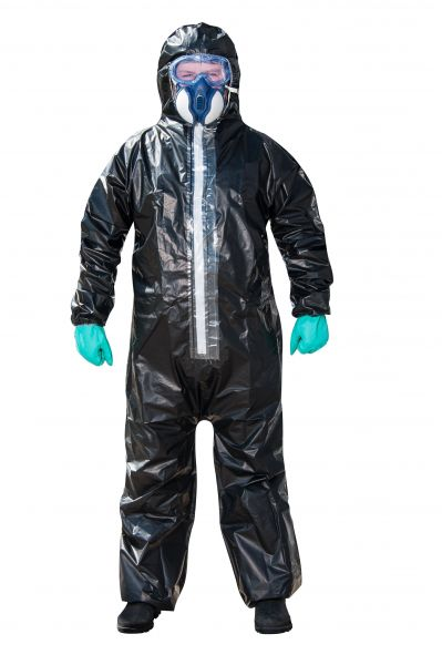 Coverall with hood (Cat. III, Typ 3, Typ 4, Typ 5 and Typ 6 protective clothing for single-use only)